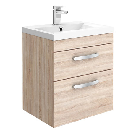 Brooklyn 500mm Natural Oak 2 Drawer Wall Hung Vanity Unit