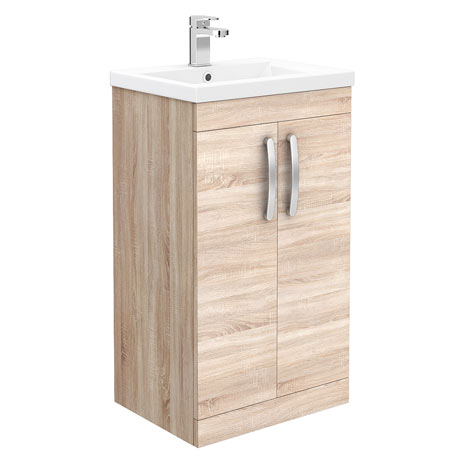Brooklyn 500mm Natural Oak Vanity Unit - Floor Standing 2 Door Unit