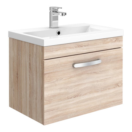 Brooklyn 500mm Natural Oak Wall Hung Vanity Unit - Single Drawer