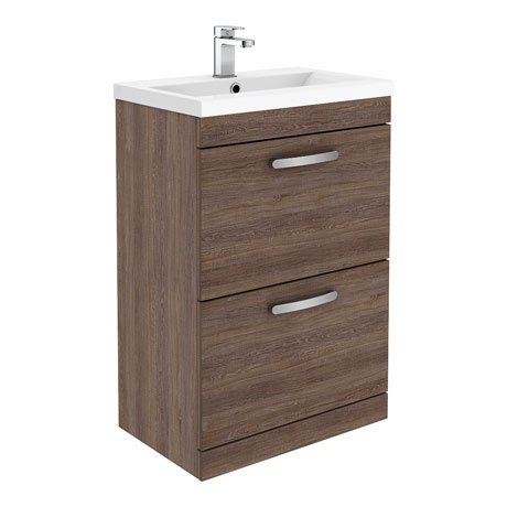 Brooklyn 600mm Mid Oak Vanity Unit - Floor Standing 2 Drawer Unit