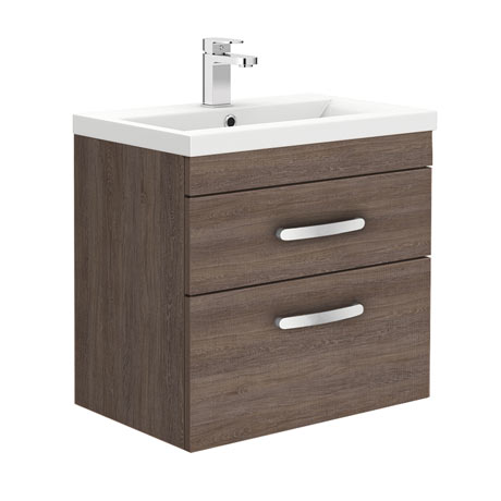 Brooklyn 600mm Mid Oak Wall Hung Double Drawer Vanity Unit