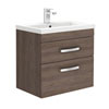 Brooklyn 600mm Mid Oak Wall Hung Double Drawer Vanity Unit Small Image