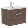 Brooklyn 600mm Mid Oak Wall Hung Vanity Unit - Single Drawer Small Image