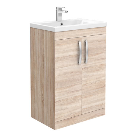 Brooklyn 600mm Natural Oak Vanity Unit - Floor Standing 2 Door Unit