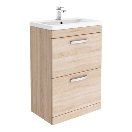 Brooklyn 600mm Natural Oak Vanity Unit - Floor Standing 2 Drawer Unit
