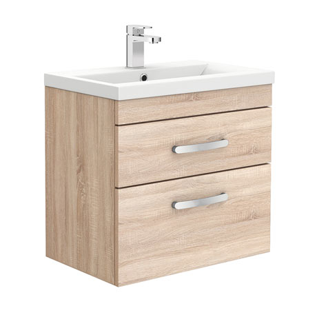 Brooklyn 600mm Natural Oak Wall Hung Double Drawer Vanity Unit