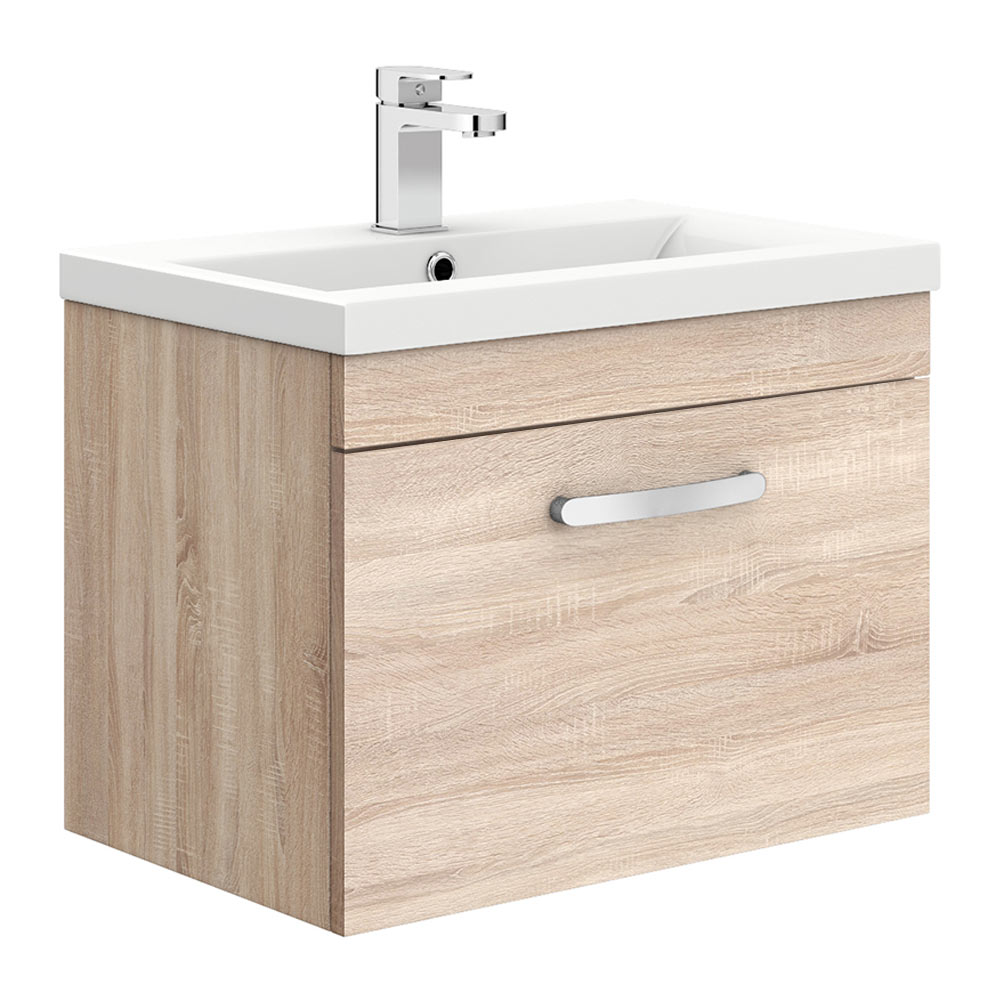 Brooklyn 600mm Natural Oak Wall Hung Vanity Unit - Single Drawer