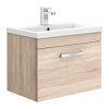 Brooklyn 600mm Natural Oak Wall Hung Vanity Unit - Single Drawer profile small image view 1