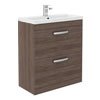 Brooklyn 800mm Mid Oak Vanity Unit - Floor Standing 2 Door Unit Small Image