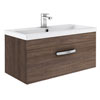 Brooklyn 800mm Mid Oak Wall Hung Vanity Unit - Single Drawer profile small image view 1