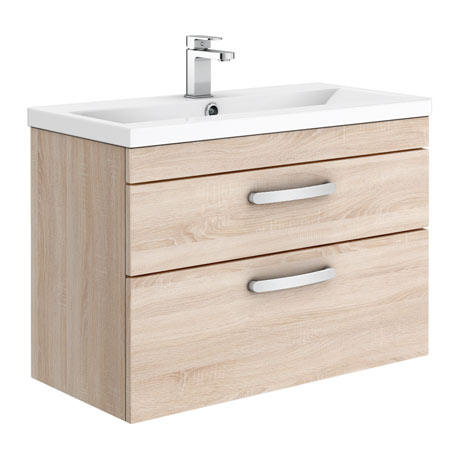 Brooklyn 800mm Natural Oak 2 Drawer Wall Hung Vanity Unit