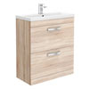 Brooklyn 800mm Natural Oak Vanity Unit - Floor Standing 2 Drawer Unit profile small image view 1