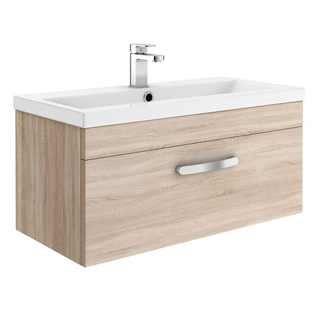 Brooklyn 800mm Natural Oak Wall Hung Vanity Unit - Single Drawer