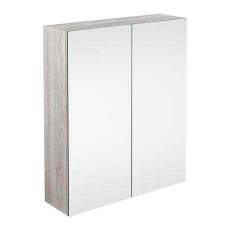 Brooklyn Bathroom Mirror Cabinet - 2 Door - Driftwood - 600mm