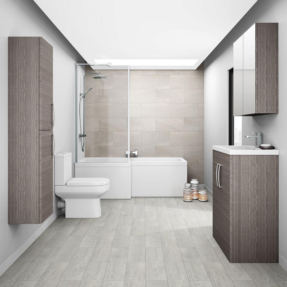 Brooklyn Bathroom Mirror Cabinet - 2 Door - Grey Avola - 600mm Profile Large Image