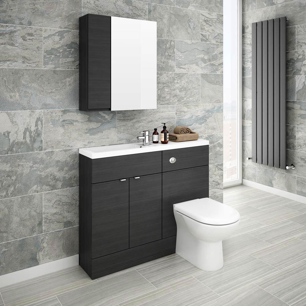 Brooklyn Bathroom Mirror & Fascia Cabinet - Black - 600mm  Profile Large Image