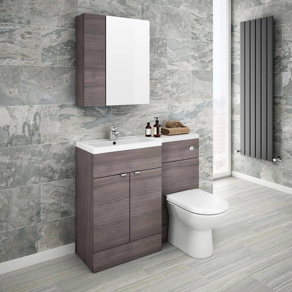 Brooklyn bathroom mirror fascia cabinet grey avola for Grey bathroom cupboard