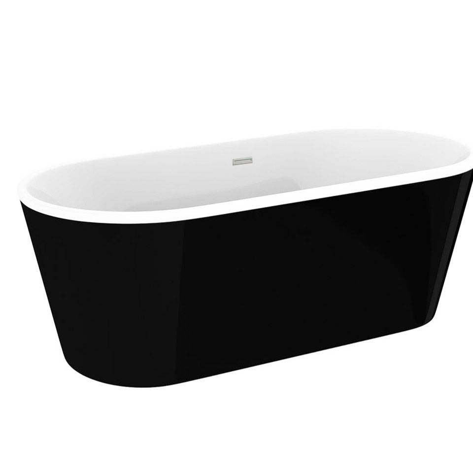 Windsor Brooklyn Black 1690 x 790mm Double Ended Freestanding Bath profile large image view 2