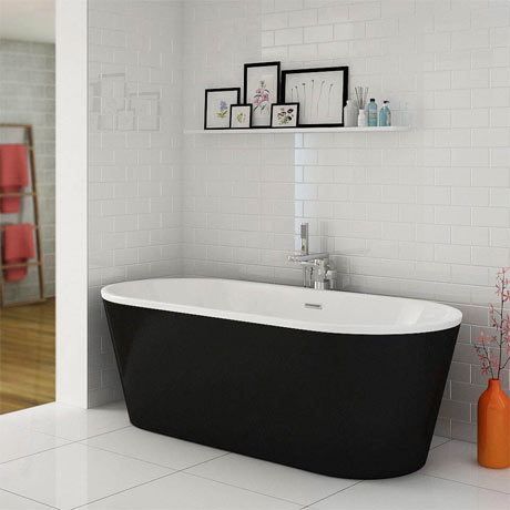Windsor Brooklyn Black 1690 x 790mm Double Ended Freestanding Bath