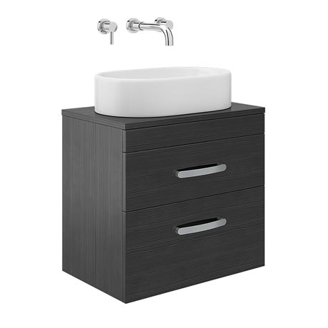 Brooklyn Black 2 Drawer Wall Hung Cabinet inc Counter Top Basin - 605mm