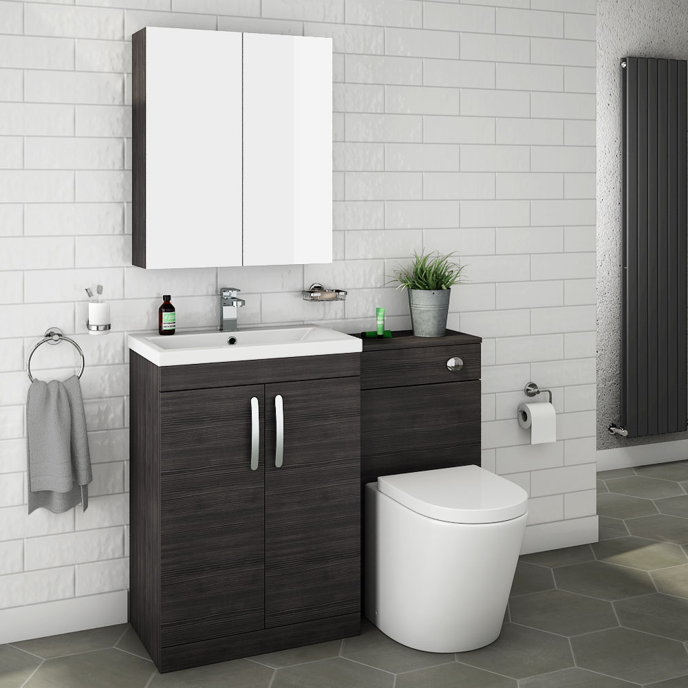 Brooklyn Black Modern Sink Vanity Unit Toilet Package Victorian Plumbing Uk