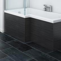 Brooklyn Black Offset MDF Front Bath Panel - MPD635 Medium Image