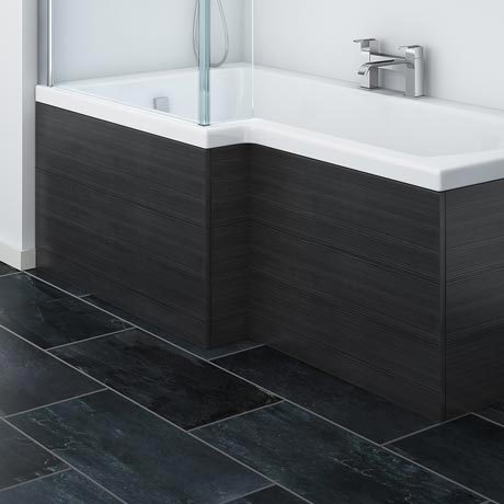 Brooklyn Black Offset MDF Front Bath Panel - MPD635