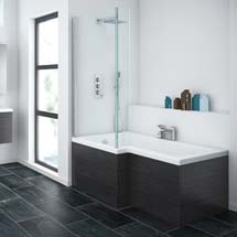 Brooklyn Black Shower Bath - 1700mm L Shaped Inc. Screen & MDF Panel Medium Image