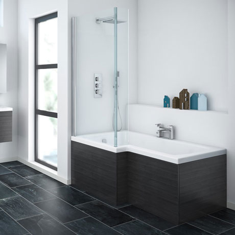 Brooklyn Black Shower Bath - 1700mm L Shaped Inc. Screen & MDF Panel