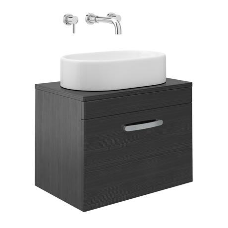 Brooklyn Black Single Drawer Wall Hung Cabinet inc Counter Top Basin - 605mm