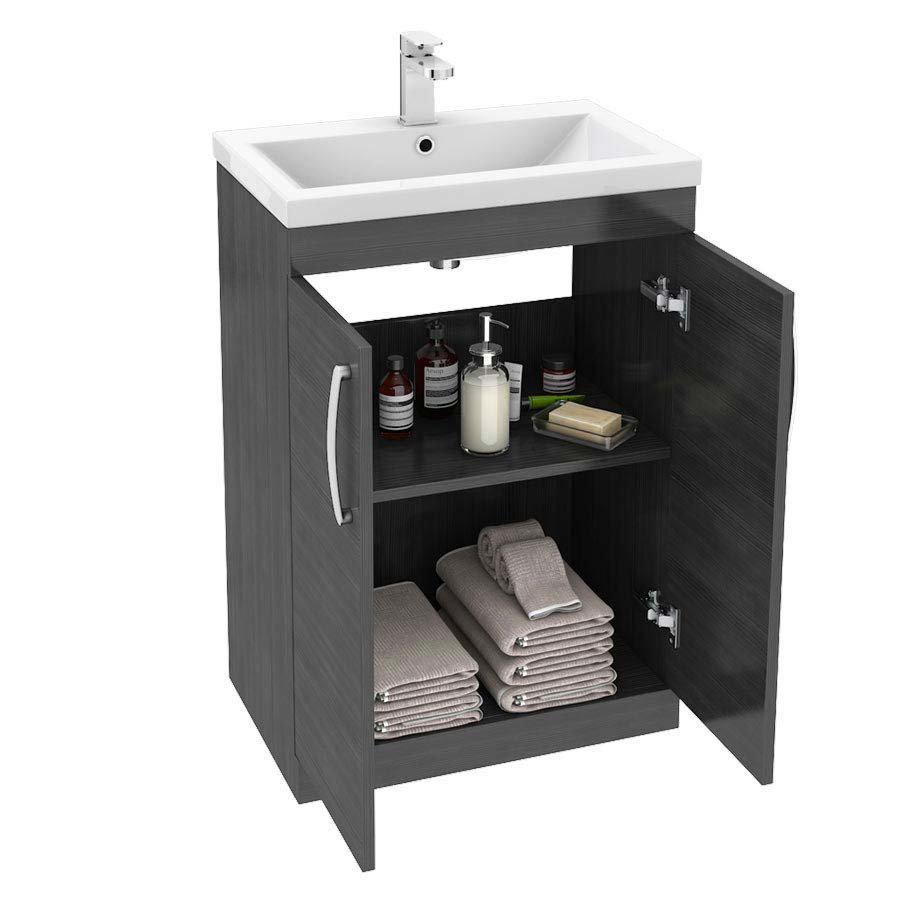 Brooklyn Black Vanity Unit - Floor Standing 2 Door Unit 600mm  Standard Large Image