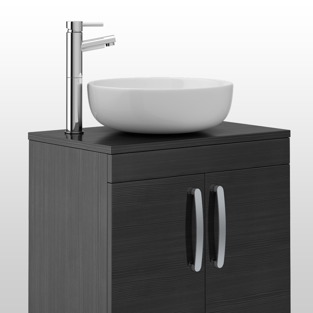 Brooklyn Black Worktop & Double Door Floor Standing Cabinet - 605mm Profile Large Image