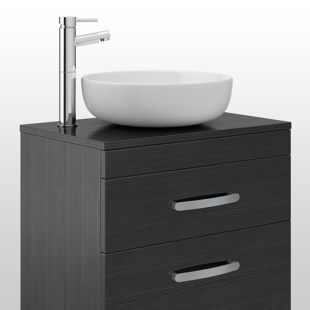 Brooklyn 605mm Black Worktop & Double Drawer Wall Hung Cabinet profile large image view 2