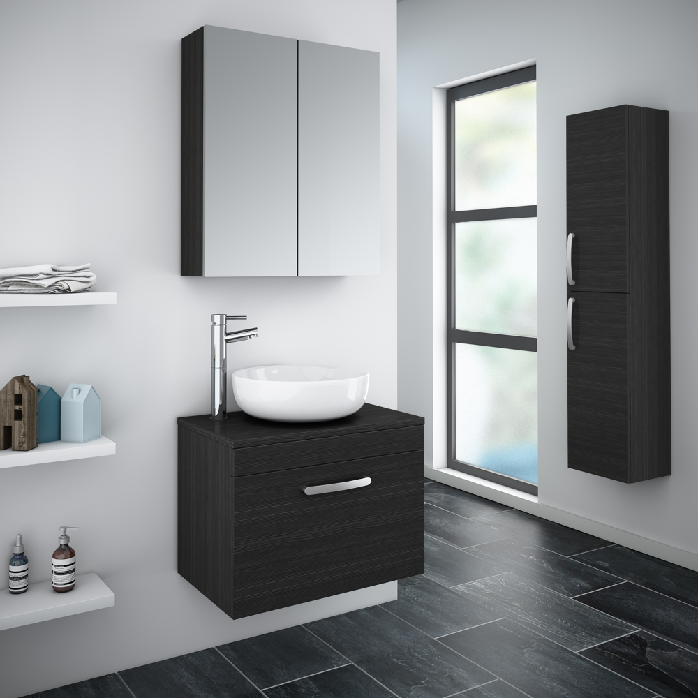 Brooklyn Black Worktop & Single Drawer Wall Hung Cabinet - 605mm Profile Large Image