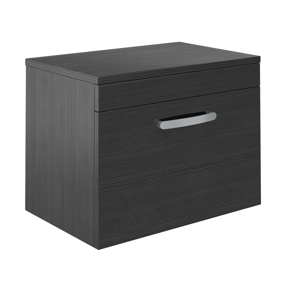 Brooklyn Black Worktop & Single Drawer Wall Hung Cabinet - 605mm Large Image