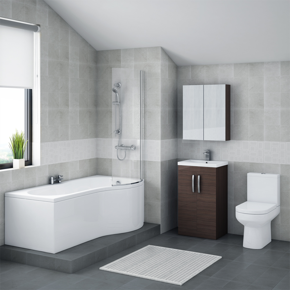 Brooklyn Brown Avola Bathroom Suite + B-Shaped Bath profile large image view 1