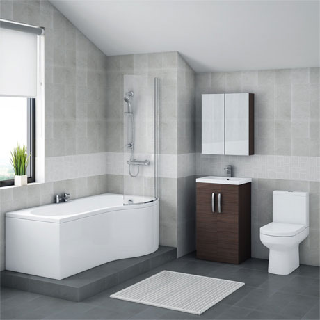 Brooklyn Brown Avola Bathroom Suite with B-Shaped Bath