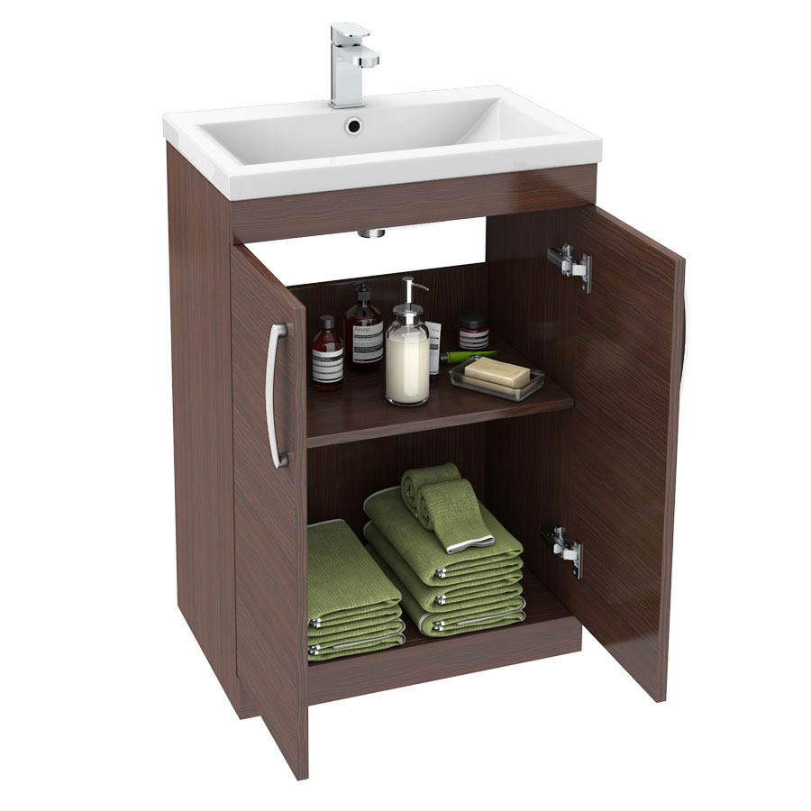 Brooklyn 600mm Brown Avola Vanity Unit - Floor Standing 2 Door Unit profile large image view 4