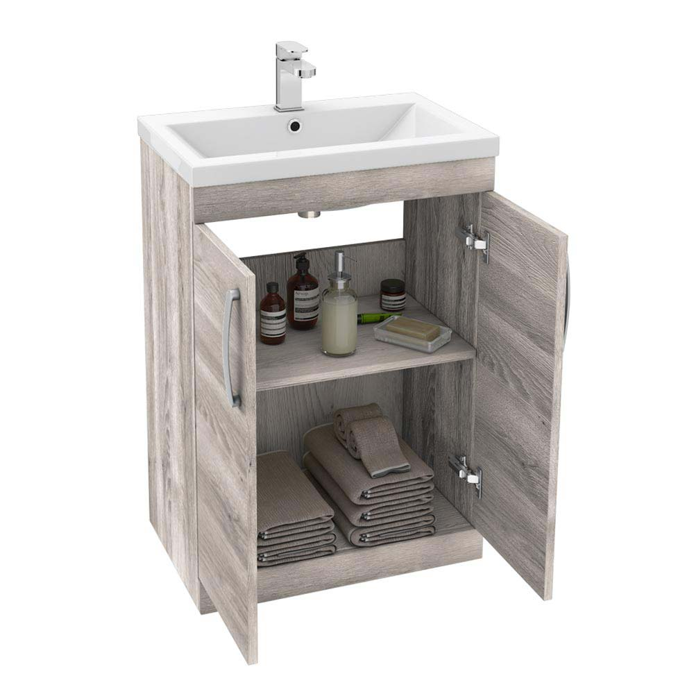 Brooklyn 600mm Driftwood Vanity Unit - Floor Standing 2 Door Unit profile large image view 3