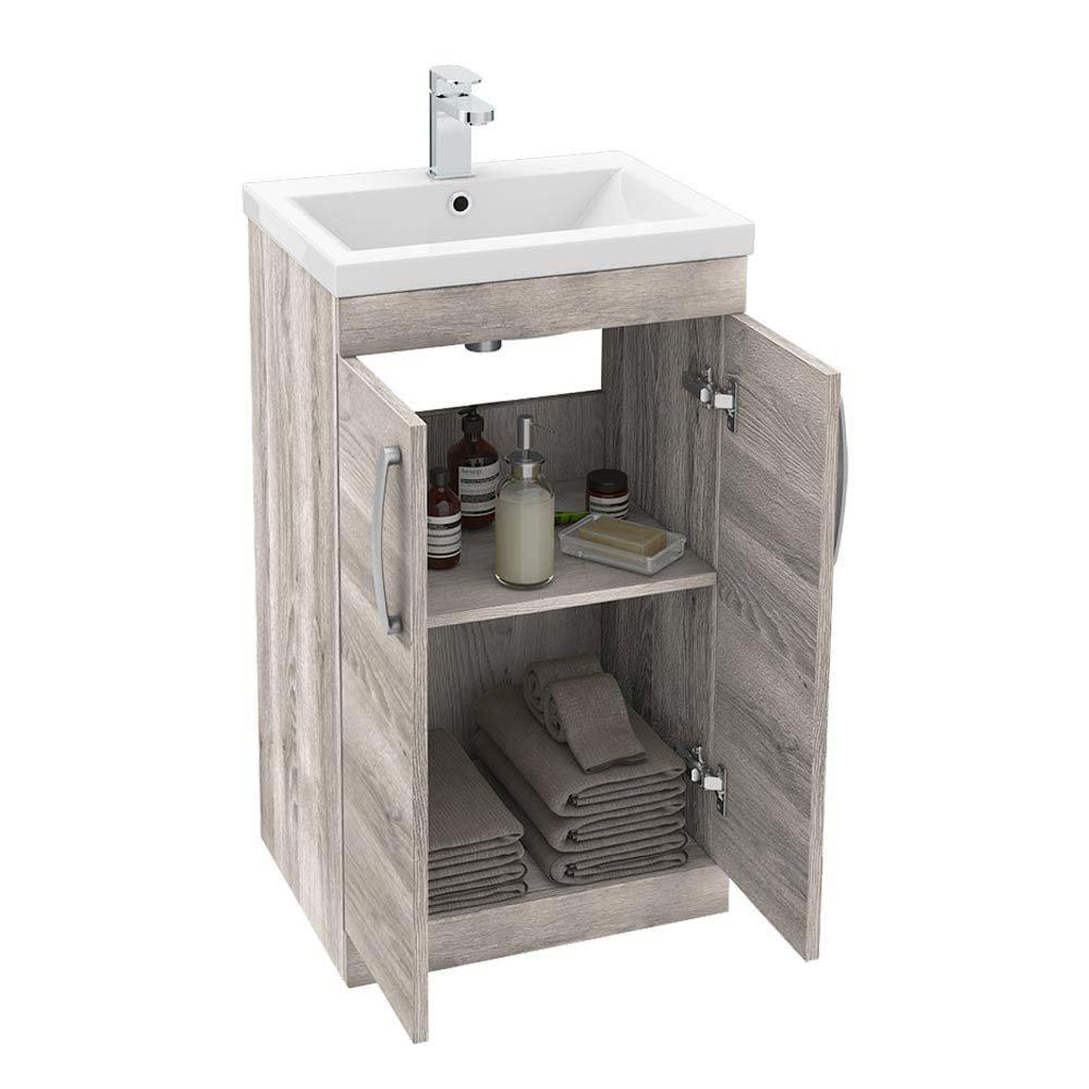 Brooklyn Driftwood Vanity Unit - Floor Standing 2 Door Unit 500mm  Feature Large Image