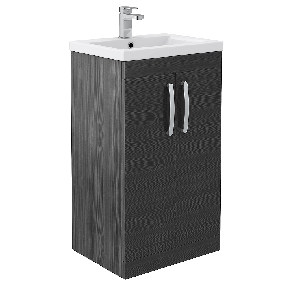 black vanity unit with basin