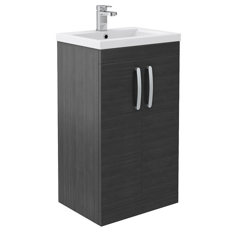 Brooklyn Black Vanity Unit - Floor Standing 2 Door Unit 500mm
