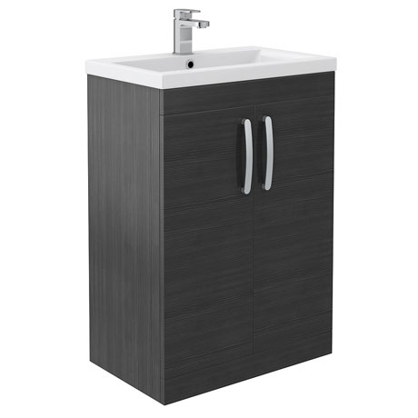 Brooklyn Black Vanity Unit - Floor Standing 2 Door Unit 600mm