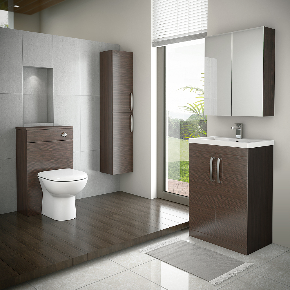 Brooklyn 600mm Brown Avola Vanity Unit - Floor Standing 2 Door Unit profile large image view 3