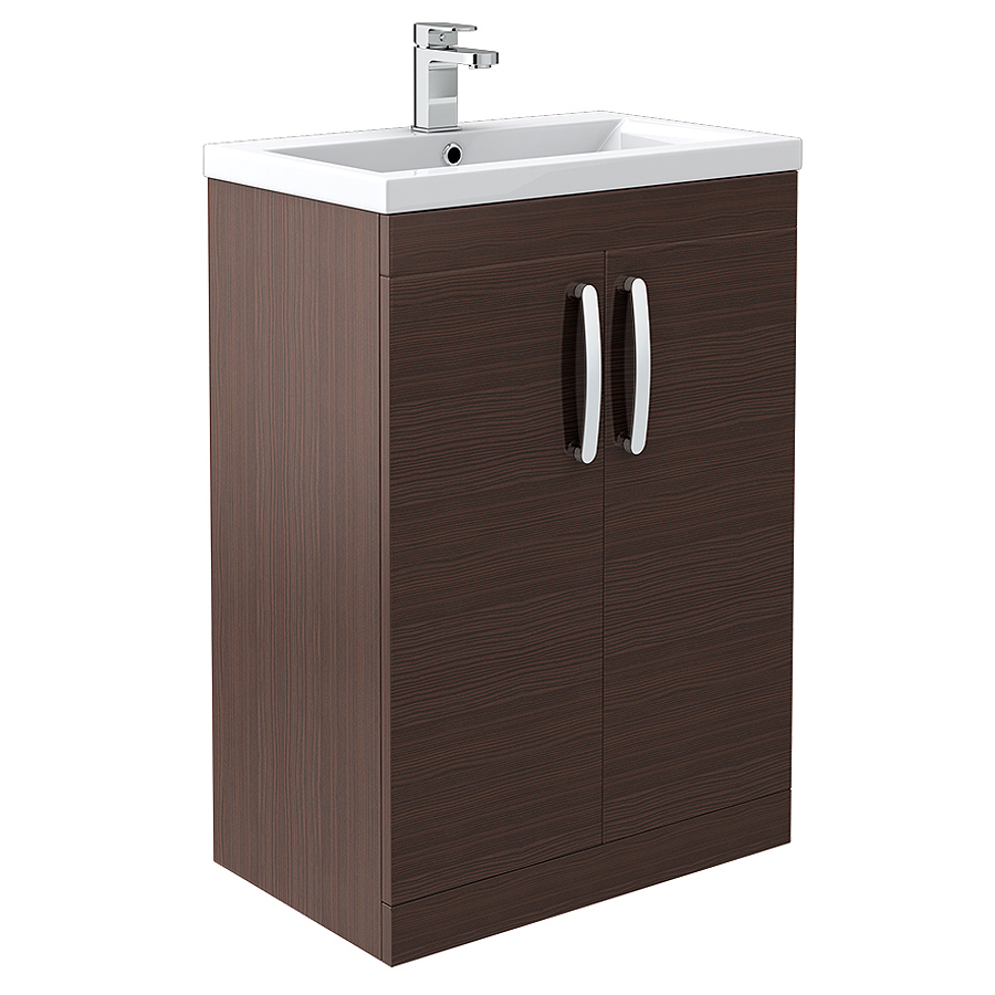 Brooklyn Brown Avola Vanity Unit - Floor Standing 2 Door Unit 600mm Large Image