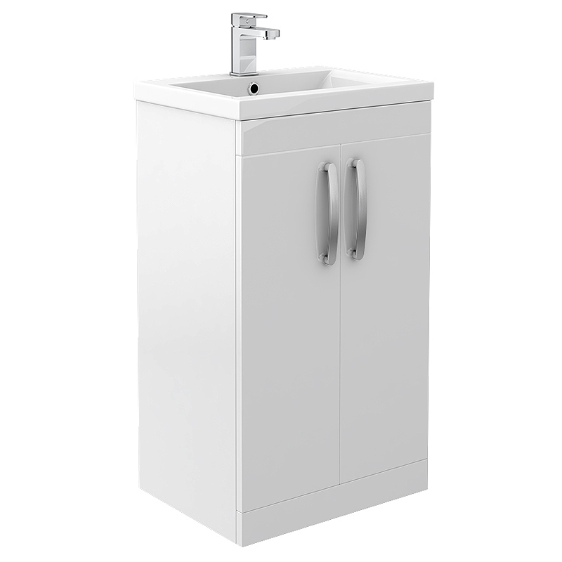 Brooklyn 500mm White Gloss Vanity Unit - Floor Standing 2 Door Unit profile large image view 1