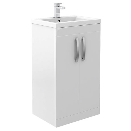 Brooklyn White Gloss Vanity Unit - Floor Standing 2 Door Unit 500mm