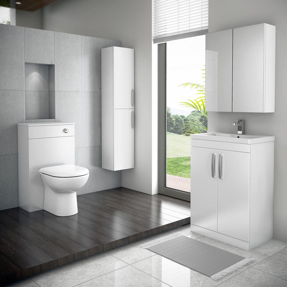 Brooklyn White Gloss Vanity Unit - Floor Standing 2 Door Unit 600mm Feature Large Image