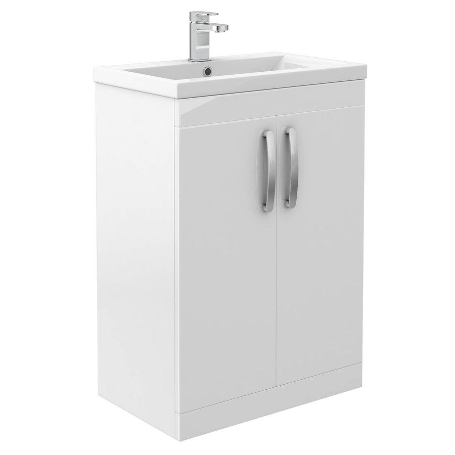 Brooklyn White Gloss Vanity Unit - Floor Standing 2 Door Unit 600mm Large Image