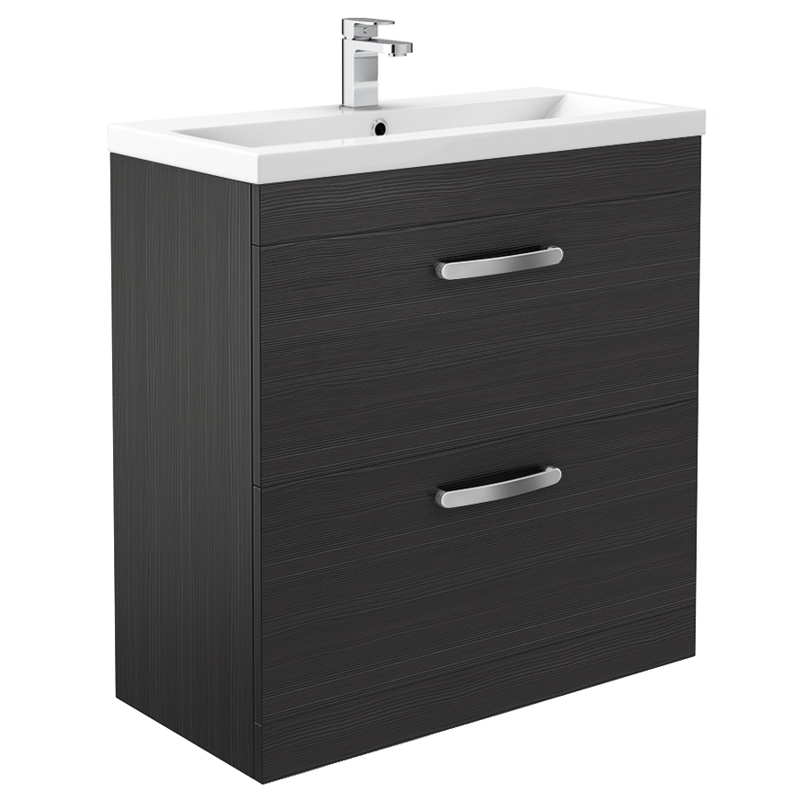 Brooklyn Black Vanity Unit - Floor Standing 2 Door Unit 800mm Large Image